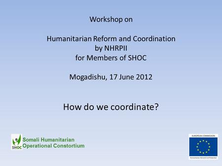 Workshop on Humanitarian Reform and Coordination by NHRPII for Members of SHOC Mogadishu, 17 June 2012 How do we coordinate?