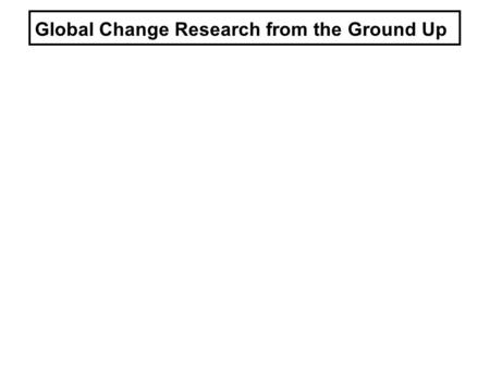 Global Change Research from the Ground Up. 100011001200140013001600150018001700190020002100 1 0 4 3 2 5 Mean global temperature anomalies: last 1000 yrs.