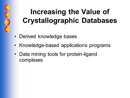 Increasing the Value of Crystallographic Databases Derived knowledge bases Knowledge-based applications programs Data mining tools for protein-ligand complexes.