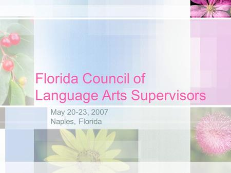 Florida Council of Language Arts Supervisors May 20-23, 2007 Naples, Florida.