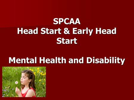 SPCAA Head Start & Early Head Start Mental Health and Disability.