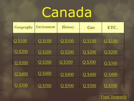 Canada Geography Environment History Gov ETC. Q $100 Q $200 Q $300 Q $400 Q $500 Q $100 Q $200 Q $300 Q $400 Q $500 Final Jeopardy.