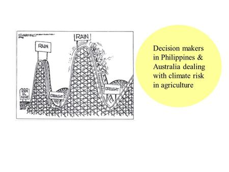 Decision makers in Philippines & Australia dealing with climate risk in agriculture.