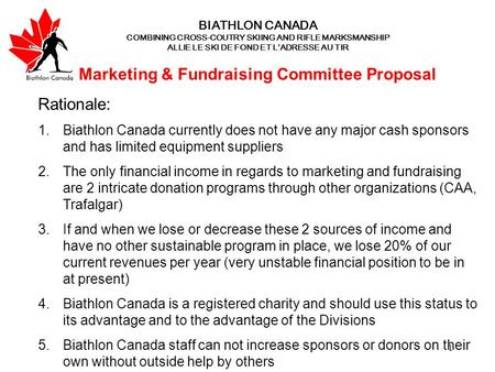 1 BIATHLON CANADA COMBINING CROSS-COUTRY SKIING AND RIFLE MARKSMANSHIP ALLIE LE SKI DE FOND ET L'ADRESSE AU TIR Marketing & Fundraising Committee Proposal.