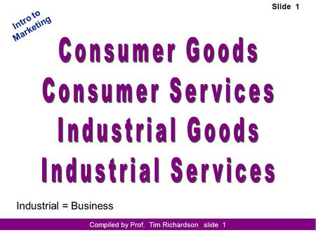 Compiled by Prof. Tim Richardson slide 1 Intro to Marketing Slide 1 Industrial = Business.