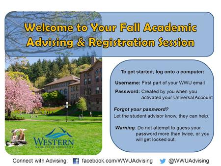 To get started, log onto a computer: Username: First part of your WWU email Password: Created by you when you activated your Universal Account Forgot your.