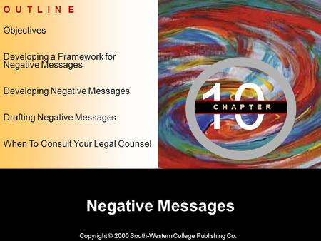 Learning Objective Chapter 10 Negative Messages Copyright © 2000 South-Western College Publishing Co. Objectives O U T L I N E Developing Negative Messages.