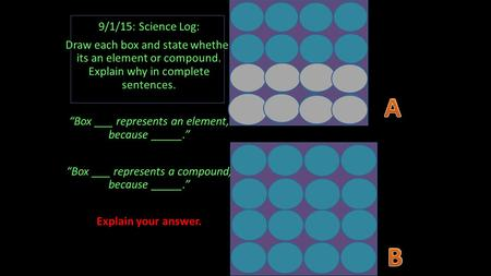 "9/1/15: Science Log: Draw each box and state whether its an element or compound. Explain why in complete sentences. ""Box ___ represents an element, because."