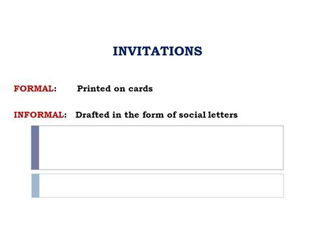 INVITATIONS INVITATIONS FORMAL: Printed on cards INFORMAL: Drafted in the form of social letters.