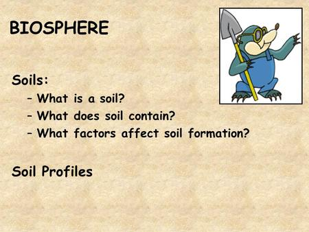 BIOSPHERE Soils: –What is a soil? –What does soil contain? –What factors affect soil formation? Soil Profiles.