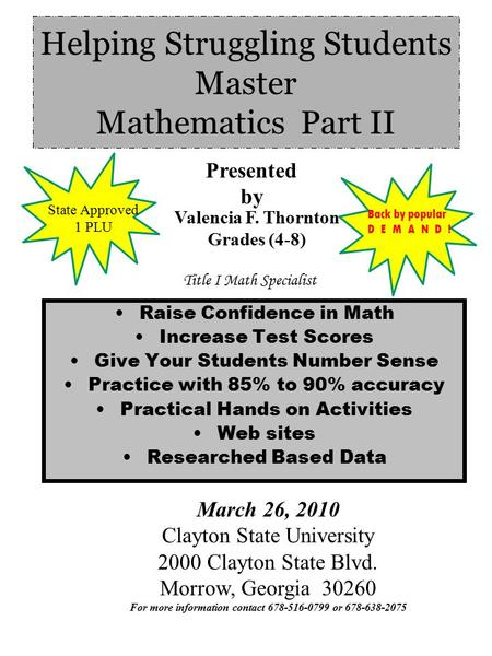 Helping Struggling Students Master Mathematics Part II Raise Confidence in Math Increase Test Scores Give Your Students Number Sense Practice with 85%