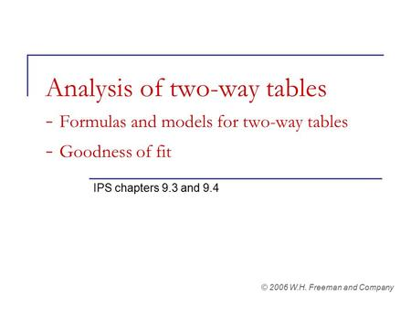 Analysis of two-way tables - Formulas and models for two-way tables - Goodness of fit IPS chapters 9.3 and 9.4 © 2006 W.H. Freeman and Company.