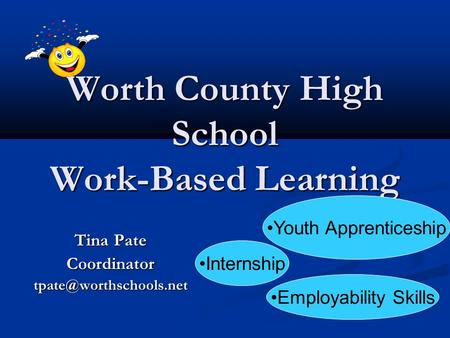 Worth County High School Work-Based Learning Tina Pate Internship Youth Apprenticeship Employability Skills.