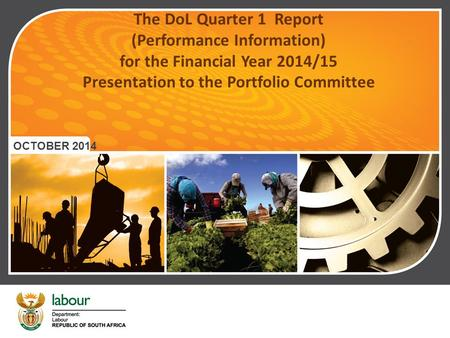 The DoL Quarter 1 Report (Performance Information) for the Financial Year 2014/15 Presentation to the Portfolio Committee OCTOBER 2014.