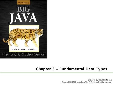 Big Java by Cay Horstmann Copyright © 2009 by John Wiley & Sons. All rights reserved. Chapter 3 – Fundamental Data Types.