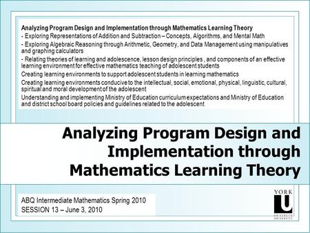 Analyzing Program Design and Implementation through Mathematics Learning Theory - Exploring Representations of Addition and Subtraction – Concepts, Algorithms,