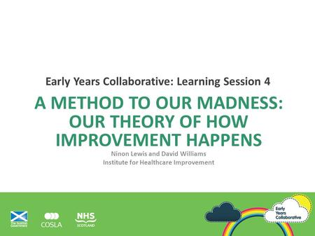 A METHOD TO OUR MADNESS: OUR THEORY OF HOW IMPROVEMENT HAPPENS Ninon Lewis and David Williams Institute for Healthcare Improvement Early Years Collaborative: