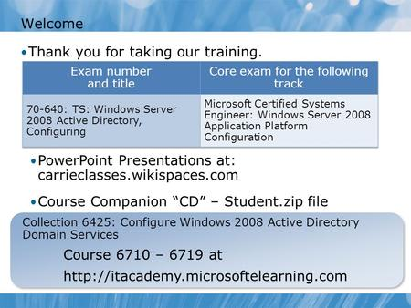 Welcome Thank you for taking our training. Collection 6425: Configure Windows 2008 Active Directory Domain Services Course 6710 – 6719 at