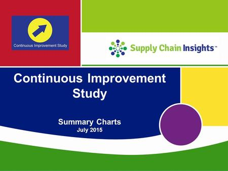 Supply Chain Insights LLC Copyright © 2015, p. 1 Continuous Improvement Study Summary Charts July 2015.