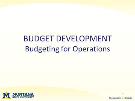 BUDGET DEVELOPMENT Budgeting for Operations 1. –Budget 4% admin fee on designated indexes in account code 62889A –Please try to budget as close to actuals.