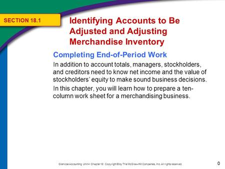 0 Glencoe Accounting Unit 4 Chapter 18 Copyright © by The McGraw-Hill Companies, Inc. All rights reserved. Completing End-of-Period Work In addition to.