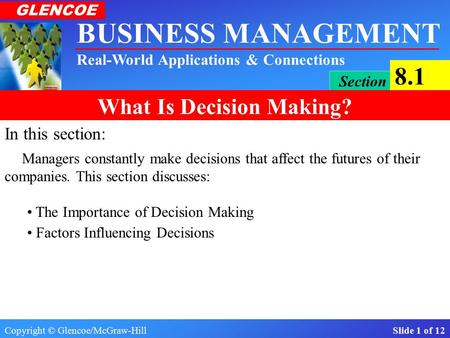 Copyright © Glencoe/McGraw-Hill Slide 1 of 12 BUSINESS MANAGEMENT Real-World Applications & Connections GLENCOE Section 8.1 What Is Decision Making? In.