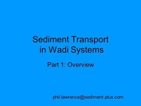 Sediment Transport in Wadi Systems Part 1: Overview