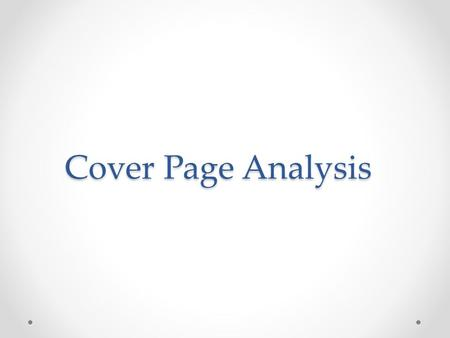 Cover Page Analysis.