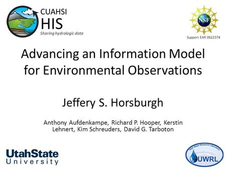 Advancing an Information Model for Environmental Observations Jeffery S. Horsburgh Anthony Aufdenkampe, Richard P. Hooper, Kerstin Lehnert, Kim Schreuders,