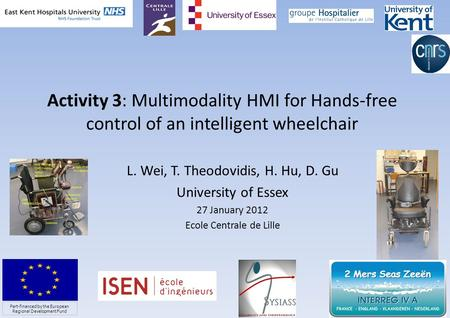 Activity 3: Multimodality HMI for Hands-free control of an intelligent wheelchair L. Wei, T. Theodovidis, H. Hu, D. Gu University of Essex 27 January 2012.