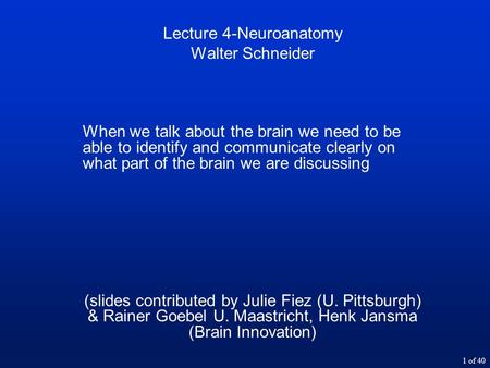 1 of 40 Lecture 4-Neuroanatomy Walter Schneider When we talk about the brain we need to be able to identify and communicate clearly on what part of the.