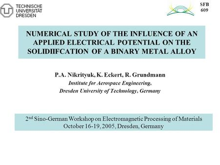 NUMERICAL STUDY OF THE INFLUENCE OF AN APPLIED ELECTRICAL POTENTIAL ON THE SOLIDIIFCATION OF A BINARY METAL ALLOY P.A. Nikrityuk, K. Eckert, R. Grundmann.