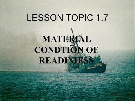 MATERIAL CONDTION OF READINIESS