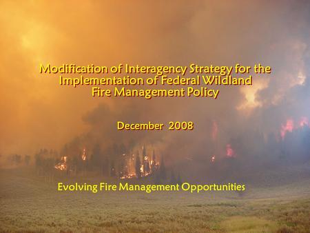 Modification of Interagency Strategy for the Implementation of Federal Wildland Fire Management Policy December 2008 Modification of Interagency Strategy.