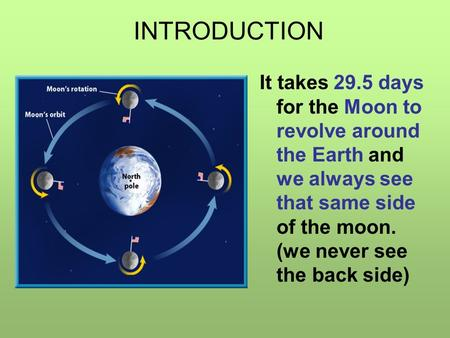 It takes 29.5 days for the Moon to revolve around the Earth and we always see that same side of the moon. (we never see the back side) INTRODUCTION.