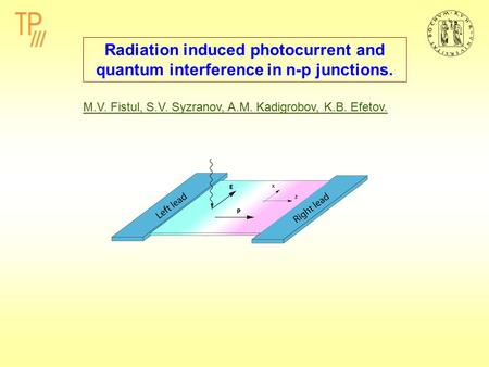 Radiation induced photocurrent and quantum interference in n-p junctions. M.V. Fistul, S.V. Syzranov, A.M. Kadigrobov, K.B. Efetov.