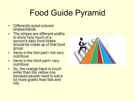 Food Guide Pyramid Differently sized colored stripes/bands. The stripes are different widths to show how much of a person's daily food intake should be.