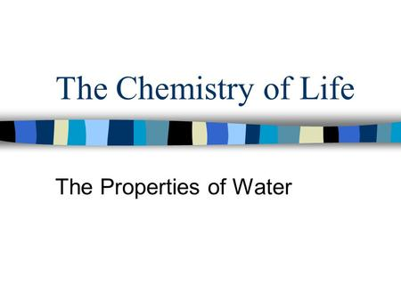 The Chemistry of Life The Properties of Water. The Water Molecule The water molecule (H 2 0) is neutral. Polar molecules- a molecule in which the charges.