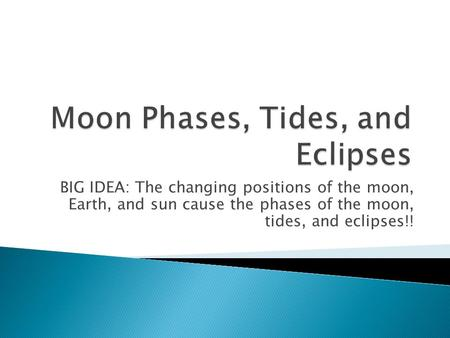 BIG IDEA: The changing positions of the moon, Earth, and sun cause the phases of the moon, tides, and eclipses!!