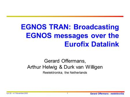 EGNOS TRAN: Broadcasting EGNOS messages over the Eurofix Datalink