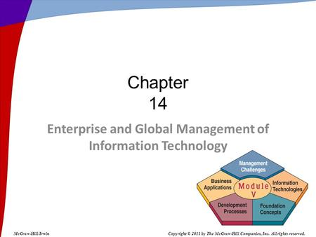 Enterprise and Global Management of Information Technology Chapter 14 McGraw-Hill/IrwinCopyright © 2011 by The McGraw-Hill Companies, Inc. All rights reserved.