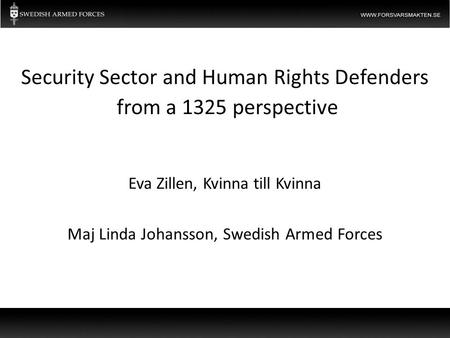 Eva Zillen, Kvinna till Kvinna Maj Linda Johansson, Swedish Armed Forces Security Sector and Human Rights Defenders from a 1325 perspective.