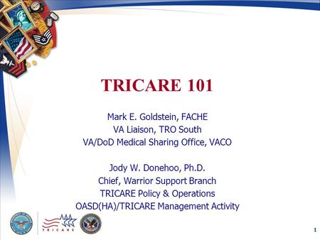 1 TRICARE 101 Mark E. Goldstein, FACHE VA Liaison, TRO South VA/<strong>DoD</strong> Medical Sharing Office, VACO Jody W. Donehoo, Ph.D. Chief, Warrior Support Branch TRICARE.