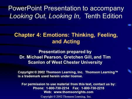 Chapter 4: Emotions: Thinking, Feeling, and Acting