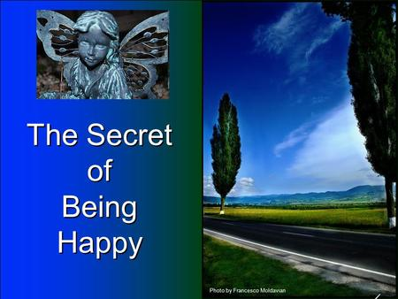 The Secret of Being Happy The Secret of Being Happy Photo by Francesco Moldavian.