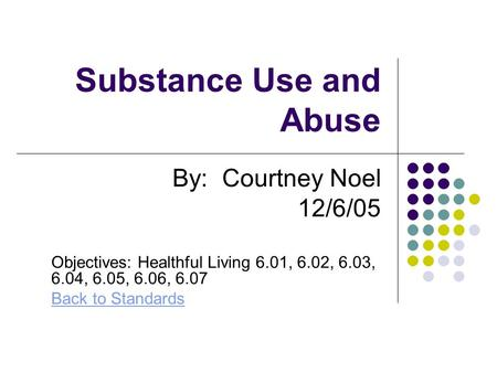 Substance Use and Abuse By: Courtney Noel 12/6/05 Objectives: Healthful Living 6.01, 6.02, 6.03, 6.04, 6.05, 6.06, 6.07 Back to Standards.