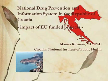 Marina Kuzman, MD, PhD Croatian National Institute of Public Health National Drug Prevention and Information System in the Republic of Croatia - impact.
