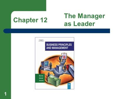 1 Chapter 12 The Manager as Leader. 2 Lesson 12.1 The Importance of Leadership Goals Recognize the importance of leadership and human relations. Identify.