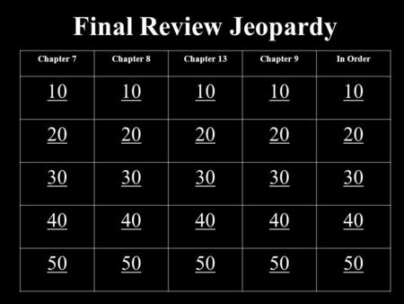 Final Review Jeopardy Chapter 7Chapter 8Chapter 13Chapter 9In Order 10 20 30 40 50.