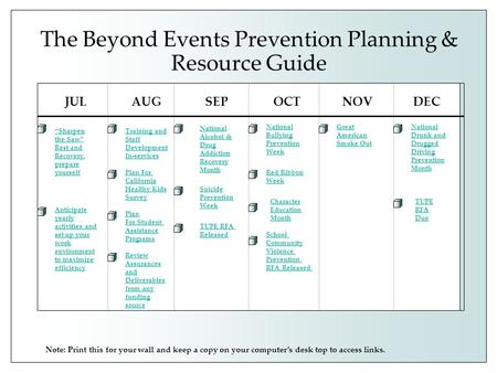 The Beyond Events Prevention Planning & Resource Guide JULAUGSEPOCTNOVDEC National Alcohol & Drug Addiction Recovery Month Training and Staff Development.